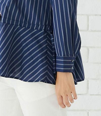 授乳写真:授乳口はセンターオープンタイプ 授乳服 ペプラムトップス