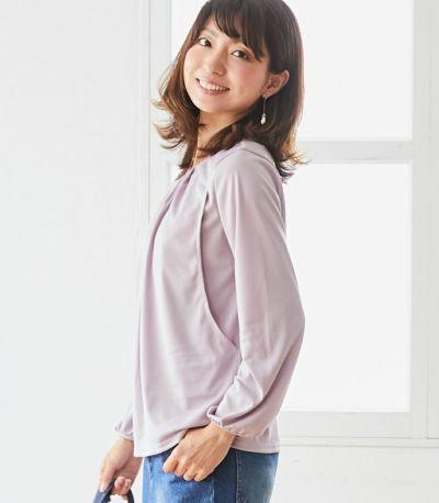 サイドスタイル 授乳服 タックブラウス ピンク 164cm