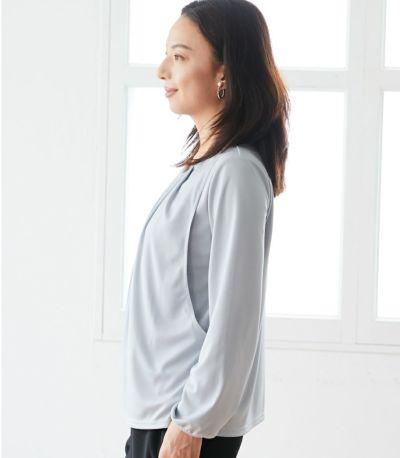 サイドスタイル 授乳服 タックブラウス グレー 160cm
