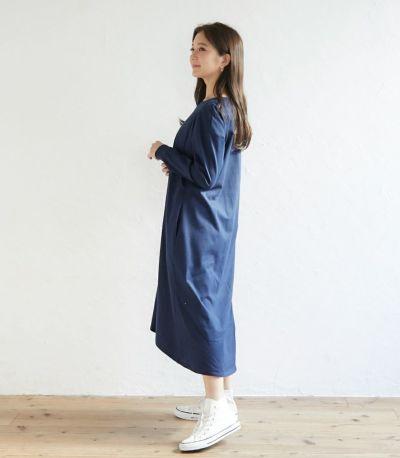 フロントスタイル 授乳服 フレアーカットソーワンピース ブルー 164cm