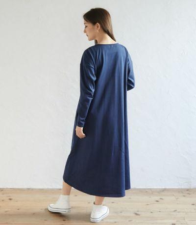 サイドスタイル 授乳服 フレアーカットソーワンピース ブルー 164cm