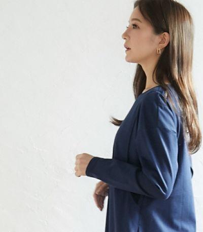 バックスタイル 授乳服 フレアーカットソーワンピース ブルー 164cm