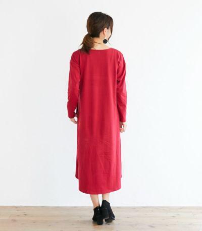 バックスタイル 授乳服 フレアーカットソーワンピース レッド 164cm
