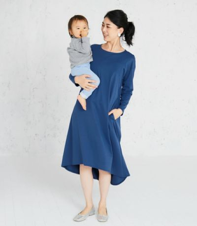 授乳服 フレアーカットソーワンピース ブルー 167cm