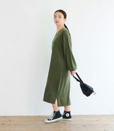 フロントスタイル 授乳服 Vネックニットワンピース カーキ 160cm