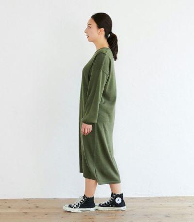 サイドスタイル 授乳服 Vネックニットワンピース カーキ 160cm