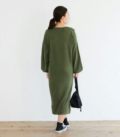 バックスタイル 授乳服 Vネックニットワンピース カーキ 160cm