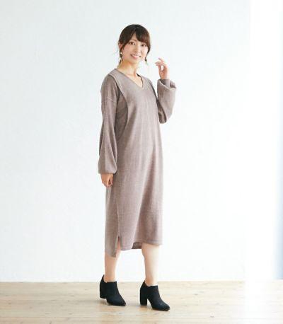 サイドスタイル 授乳服 Vネックニットワンピース ブラウン 164cm