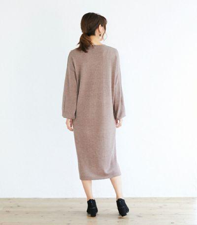 バックスタイル 授乳服 Vネックニットワンピース ブラウン 164cm