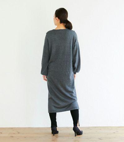 バックスタイル 授乳服 Vネックニットワンピース グレー 160cm