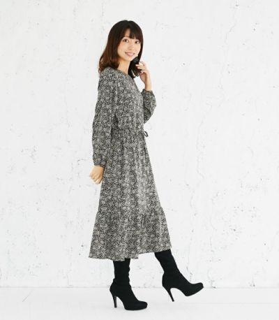 サイドスタイル 授乳服 プリントティアードワンピース ブラック 164cm