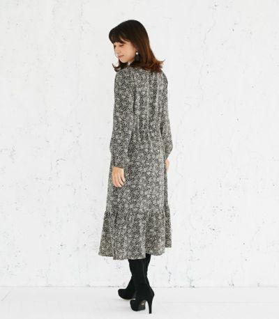 バックスタイル 授乳服 プリントティアードワンピース ブラック 164cm