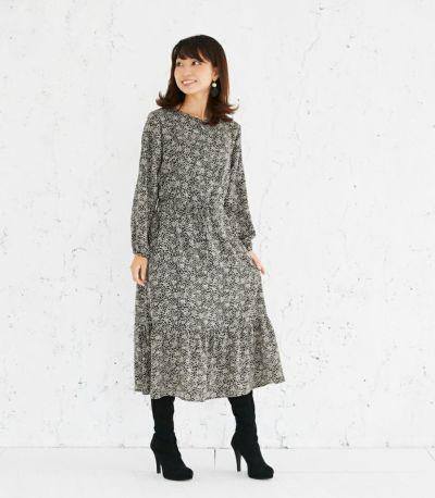 授乳服 プリントティアードワンピース ブラック 164cm