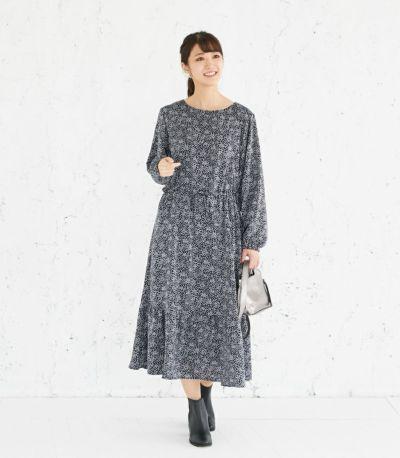 フロントスタイル 授乳服 プリントティアードワンピース ネイビー 160cm