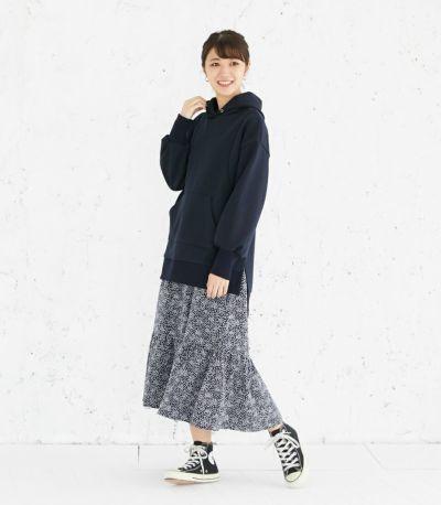 サイドスタイル 授乳服 プリントティアードワンピース ネイビー 160cm