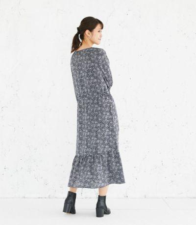 バックスタイル 授乳服 プリントティアードワンピース ネイビー 160cm