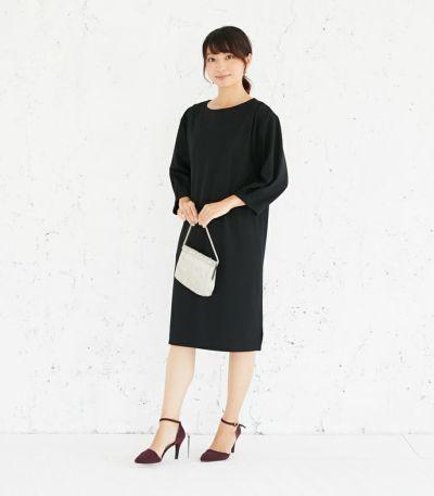 フロントスタイル 授乳服 バックリボンワンピース ブラック 164cm