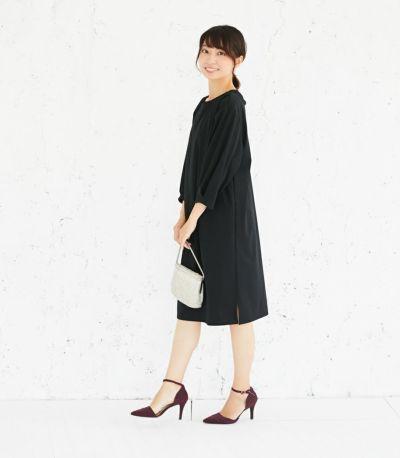 サイドスタイル 授乳服 バックリボンワンピース ブラック 164cm