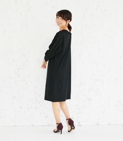 バックスタイル 授乳服 バックリボンワンピース ブラック 164cm