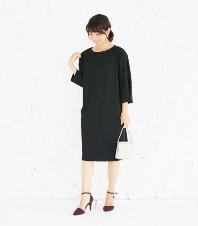 授乳服 バックリボンワンピース ブラック 164cm