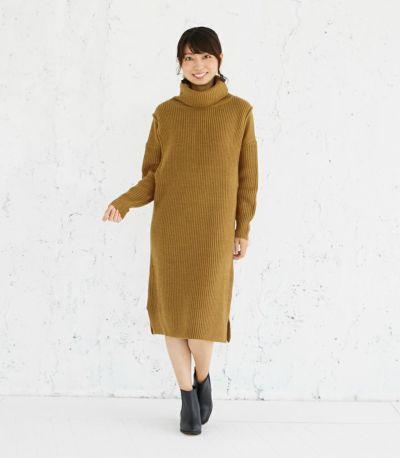 フロントスタイル 授乳服 タートルニットワンピース ブラウン 164cm