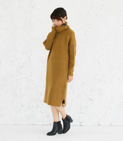 サイドスタイル 授乳服 タートルニットワンピース ブラウン 164cm