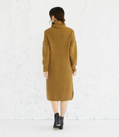 バックスタイル 授乳服 タートルニットワンピース ブラウン 164cm