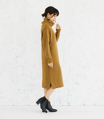 授乳服 タートルニットワンピース ブラウン 164cm