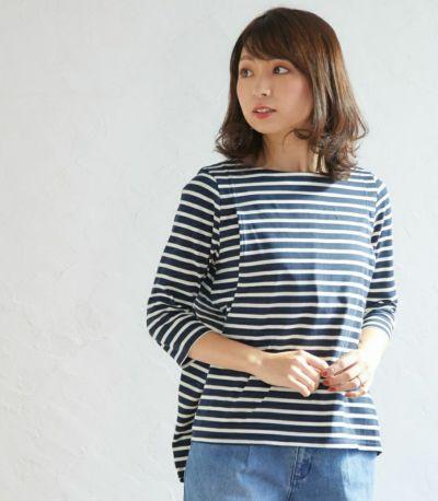 フロントスタイル 授乳服ボーダーフレアーカットソー ホワイト(×ブラック) 164cm