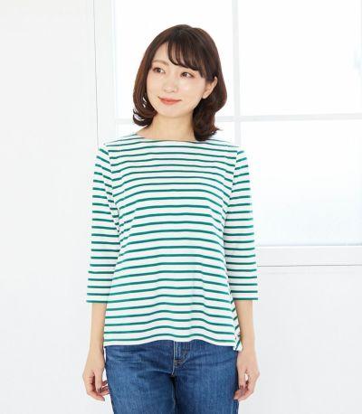 サイドスタイル 授乳服ボーダーフレアーカットソー ホワイト(×ブラック) 164cm