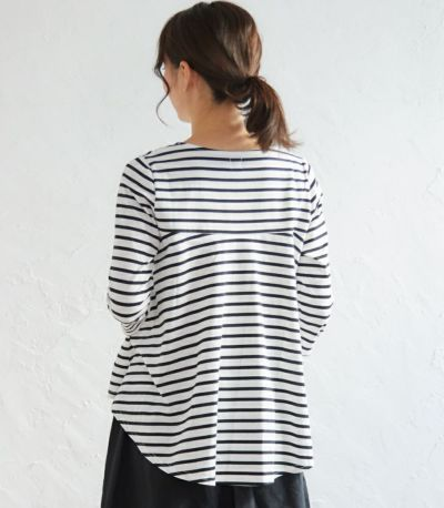バックスタイル 授乳服ボーダーフレアーカットソー ホワイト(×ブラック) 164cm