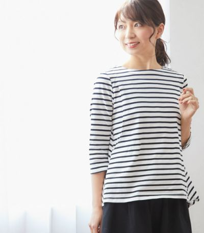 授乳服ボーダーフレアーカットソー ホワイト(×ブラック) 164cm