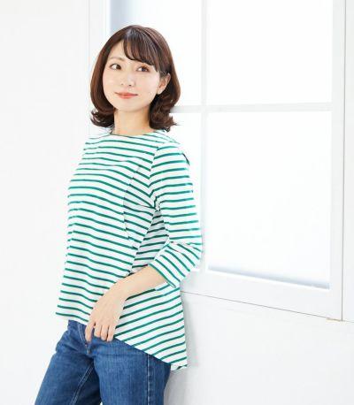 フロントスタイル 授乳服ボーダーフレアーカットソー ホワイト(×ベージュ) 160cm