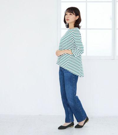 サイドスタイル 授乳服ボーダーフレアーカットソー ホワイト(×ベージュ) 160cm