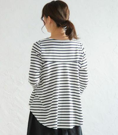 授乳服ボーダーフレアーカットソー ホワイト(×ベージュ) 160cm