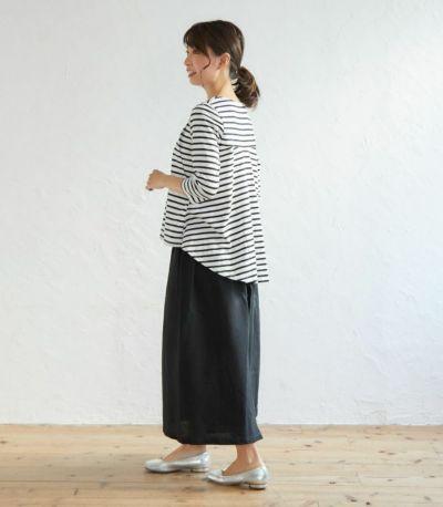 フロントスタイル 授乳服ボーダーフレアーカットソー ネイビー(×ホワイト) 160cm