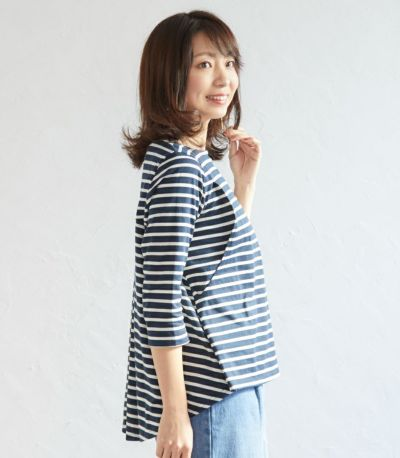 サイドスタイル 授乳服ボーダーフレアーカットソー ネイビー(×ホワイト) 160cm