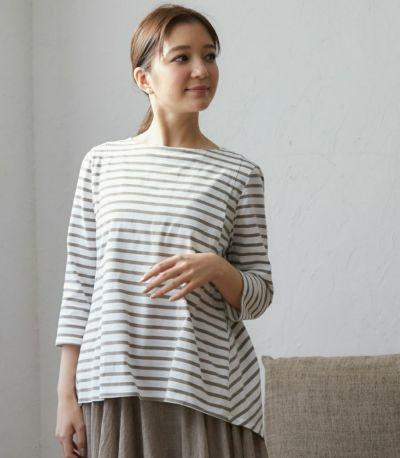 バックスタイル 授乳服ボーダーフレアーカットソー ネイビー(×ホワイト) 160cm
