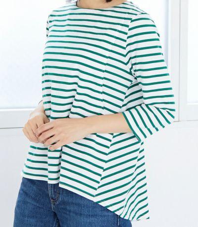 授乳写真:授乳口はサイドスリットタイプ 授乳服ボーダーフレアーカットソー ホワイト(×ベージュ)