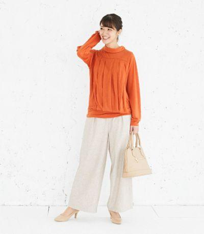 フロントスタイル 授乳服 タックドレープT(オレンジ) フロントスタイル 160cm