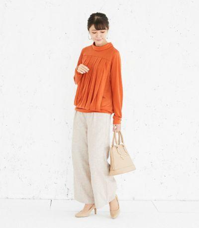 フロントスタイル 授乳服 タックドレープT(オレンジ) 160cm