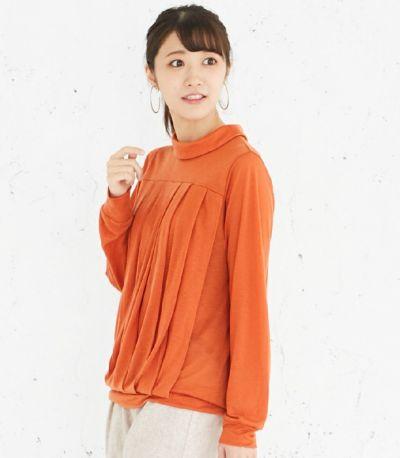 授乳服 タックドレープT(オレンジ) サイドスタイル 160cm