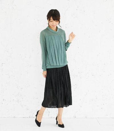 フロントスタイル 授乳服 タックドレープT(グリーン) フロントスタイル 164cm