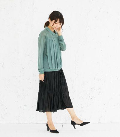 サイドスタイル 授乳服 タックドレープT(グリーン) サイドスタイル 164cm