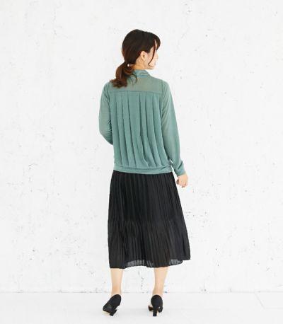 バックスタイル 授乳服 タックドレープT(グリーン) バックスタイル 164cm