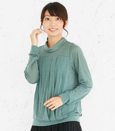 授乳服 タックドレープT(グリーン) 164cm