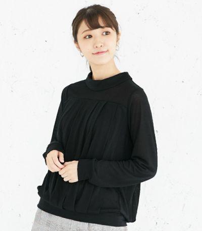 授乳服 タックドレープT(ブラック) 160cm