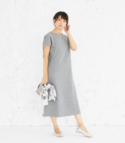 フロントスタイル 授乳服 変わり袖切替ワンピース(グレー) 164cm