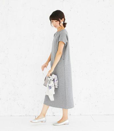サイドスタイル 授乳服 変わり袖切替ワンピース(グレー) 164cm