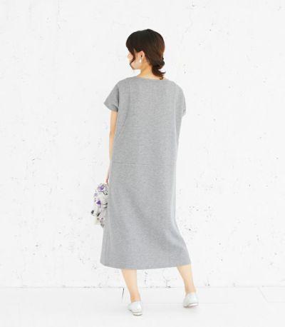 バックスタイル 授乳服 変わり袖切替ワンピース(グレー) 164cm